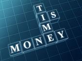Zeit ist geld in blaue glassteine — Stockfoto