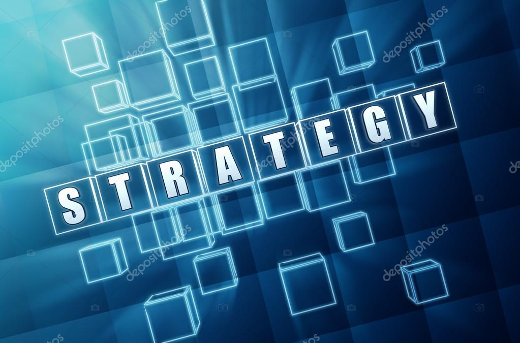 Strategy text in 3d blue glass cubes with white letters  Stock Photo #13433755