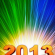 Stock Photo: Golden year 2013 with rainbow rays