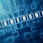 Blue leadership in glass blocks — Stock Photo