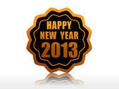Happy new year 2013 in starlike label — Stock Photo