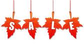 Venta de otoño en hojas 3d — Foto de Stock