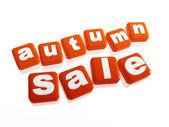 Podzimní prodej - text v oranžové kostky — Stock fotografie