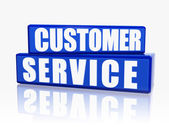 Customer service in blue blocks — Stock Photo