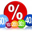 Different percentages in color circles - Stock Photo