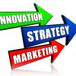 Stock Photo: Innovation, strategy and marketing in arrows