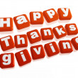 Happy thanksgiving in orange blocks — Stock Photo