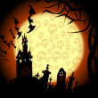 Stock Photo: Halloween churchyard, bats and skulls on moon