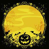 Tarjeta de halloween con calabazas y murciélagos — Foto de Stock