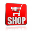 Shopping cart sign with word shop banner — Stock Photo