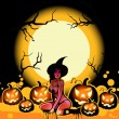 Halloween witch and pumpkins on the moon — Stock Photo
