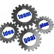 Idea, team, plan, goal in silver grey gearwheels — Stock Photo