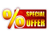 Special offer label with percentage symbol — Stock Photo