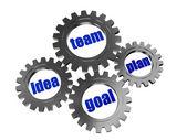 Idea, team, plan, goal in silver grey gearwheels — Stock Photo