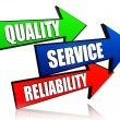 Quality, service, reliability in arrows — Stock Photo #13947515