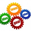 Idea, team, plan, goal in colorful gearwheels — Stock Photo