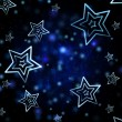 Abstract blue background with white stars — Stock Photo