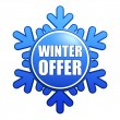 Winter offer snowflake label — Stock Photo