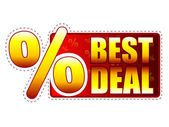 Best deal label with percentage symbol — Stock Photo