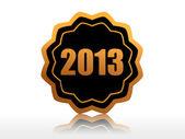 Year 2013 in starlike label — Stock Photo