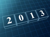 Year 2013 in blue glass blocks — Stock Photo