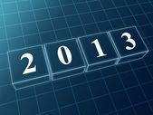 Year 2013 in blue glass blocks — Stock Photo