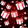 Abstract red background with white presents — Stock Photo
