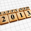 Stock Photo: Happy new year 2013 in golden cubes