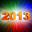 Golden year 2013 with rainbow rays — Stock Photo
