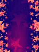Fialové pozadí s zářících zlatých hvězd — Stock fotografie