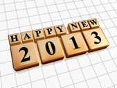 Happy new year 2013 in golden cubes — Stock Photo