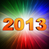 Golden year 2013 with rainbow rays — Stock Photo