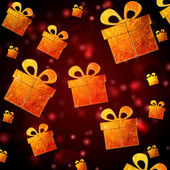 Abstract red background with golden presents — Stock Photo