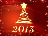 Golden year 2013 and christmas tree with stars — Stock Photo