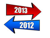 Years 2012 and 2013 in arrows — Stock Photo