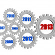 New year 2013 and previous years in gearwheels — Zdjęcie stockowe