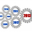 Stock Photo: New year 2013 and previous years in gearwheels