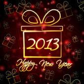 Happy New Year 2013 in present box — Stock Photo