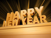 Golden Happy New Year on a pedestal — Stock Photo