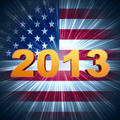 Golden year 2013 over shining american flag — Stock Photo