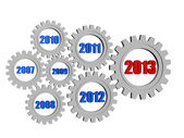 New year 2013 and previous years in gearwheels — Stock Photo