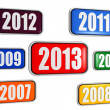New year 2013 and previous years in colored banners — Foto Stock