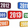 New year 2013 and previous years in colored banners — Stock fotografie
