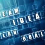 Idea, team, plan, goal in blue glass blocks — Stock Photo