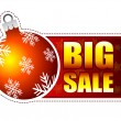 Big sale label with christmas ball and snowflakes - Photo