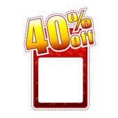 Veertig percentage uit label met tekst ruimte — Stockfoto