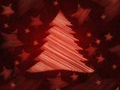 Retrò sfondo rosso con albero di natale e stelle — Foto Stock