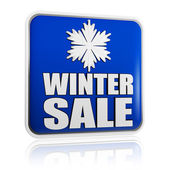 Winter sale blue banner with snowflake symbol — Stok fotoğraf