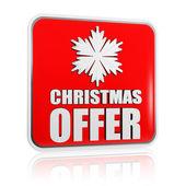 Jul erbjudande röd banderoll med snöflinga symbol — Stockfoto