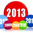 New year 2013 and previous years in colored circles — Stock Photo